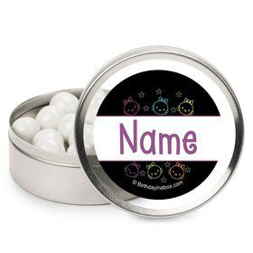 Neon Kitty Personalized Candy Tins (12 Pack)