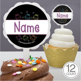 Neon Kitty Personalized Cupcake Picks (12 Count)