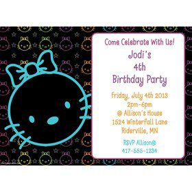 Neon Kitty Personalized Invitation (Each)