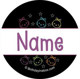 Neon Kitty Personalized Mini Stickers (Sheet of 24)
