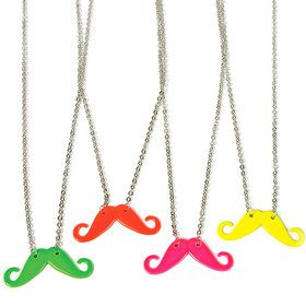 Neon Moustache Necklace One size
