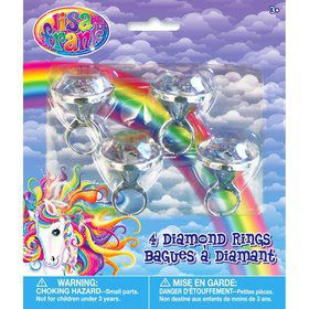Neon Pony Lisa Frank Diamond Ring Favors (4 Pack)