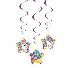 Neon Pony Lisa Frank Hanging Swirl Decorations (Each)