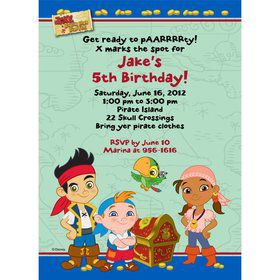 Never Land Pirates Personalized Invitation (Each)