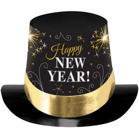 "New Year Metallic 6"" Paper Top Hat (Each)"