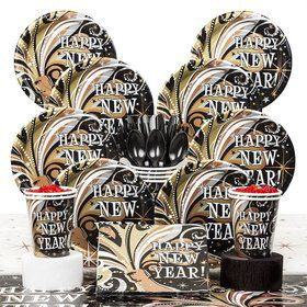 New Year's Burst Party Deluxe Tableware Kit Serves 8
