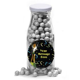 New Years Pop Personalized Glass Milk Bottles (12 Count)