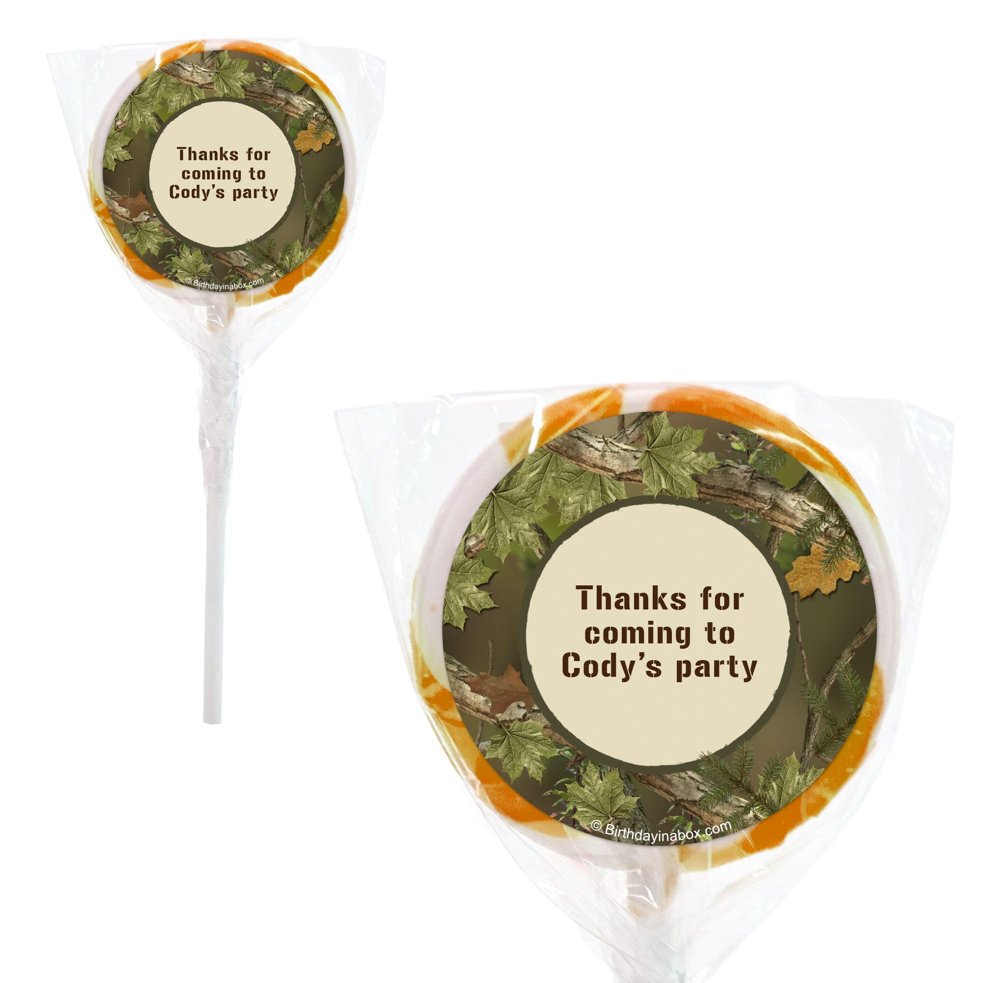 "Next Camo Personalized 2"" Lollipops (20 Pack) - Party Supplies BB131PPS"