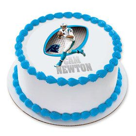 "NFL Carolina Panthers Cam Newton 7.5"" Round Edible Cake Topper (Each)"