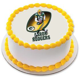 """NFL Green Bay Packers Aaron Rodgers 7.5"""" Round Edible Cake Topper (Each)"""