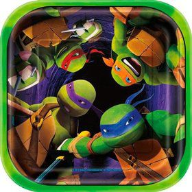 "Ninja Turtles 7"" Cake Square Plates (8 Count)"