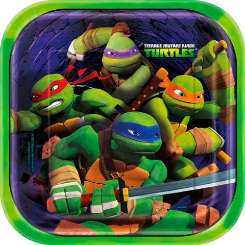 "Ninja Turtles 9"" Luncheon Square Plate (8 Count) Birthday Party Supplies Plates BB44715"