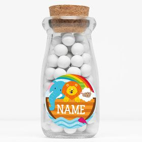 "Noah's Ark Personalized 4"" Glass Milk Jars (Set of 12)"