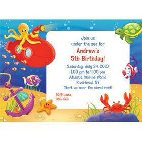 Ocean Friends Personalized Invitation (each)
