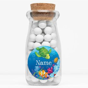 "Ocean Party Personalized 4"" Glass Milk Jars (Set of 12)"