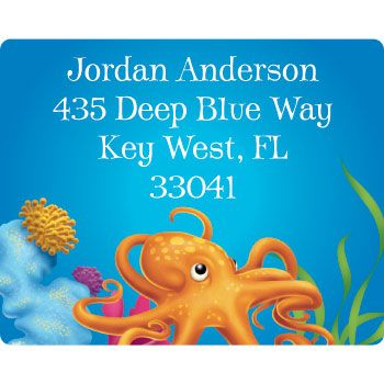Ocean Birthday Party Supplies Personalized Address Labels (sheet of 15) BB020931