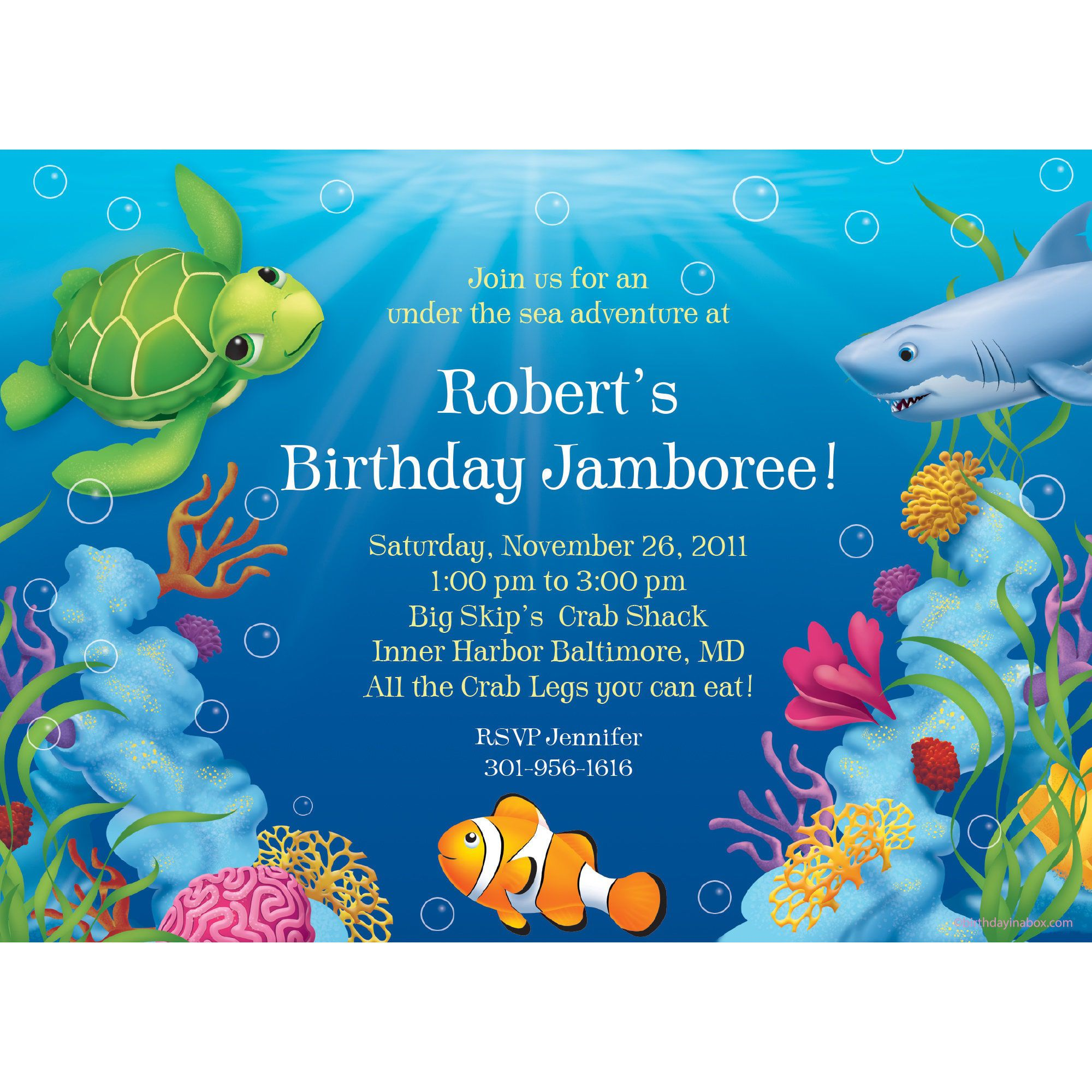 Ocean Party Invitation Custom Invitations Party Supplies