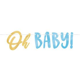 Oh Baby Boy Ribbon Banner