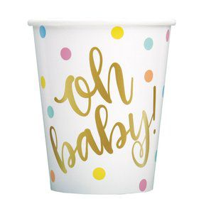 """""""Oh Baby"""" Gold Baby Shower 9oz Paper Cup (8)"""