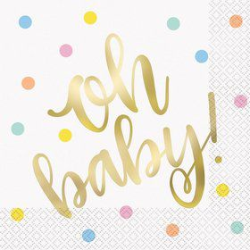 """""""Oh Baby"""" Gold Baby Shower Lunch Napkin (16)"""