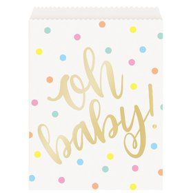 """""""Oh Baby"""" Gold Baby Shower Paper Goodie Bags (8)"""