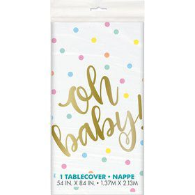"""""""Oh Baby"""" Gold Baby Shower Plastic Tablecover"""