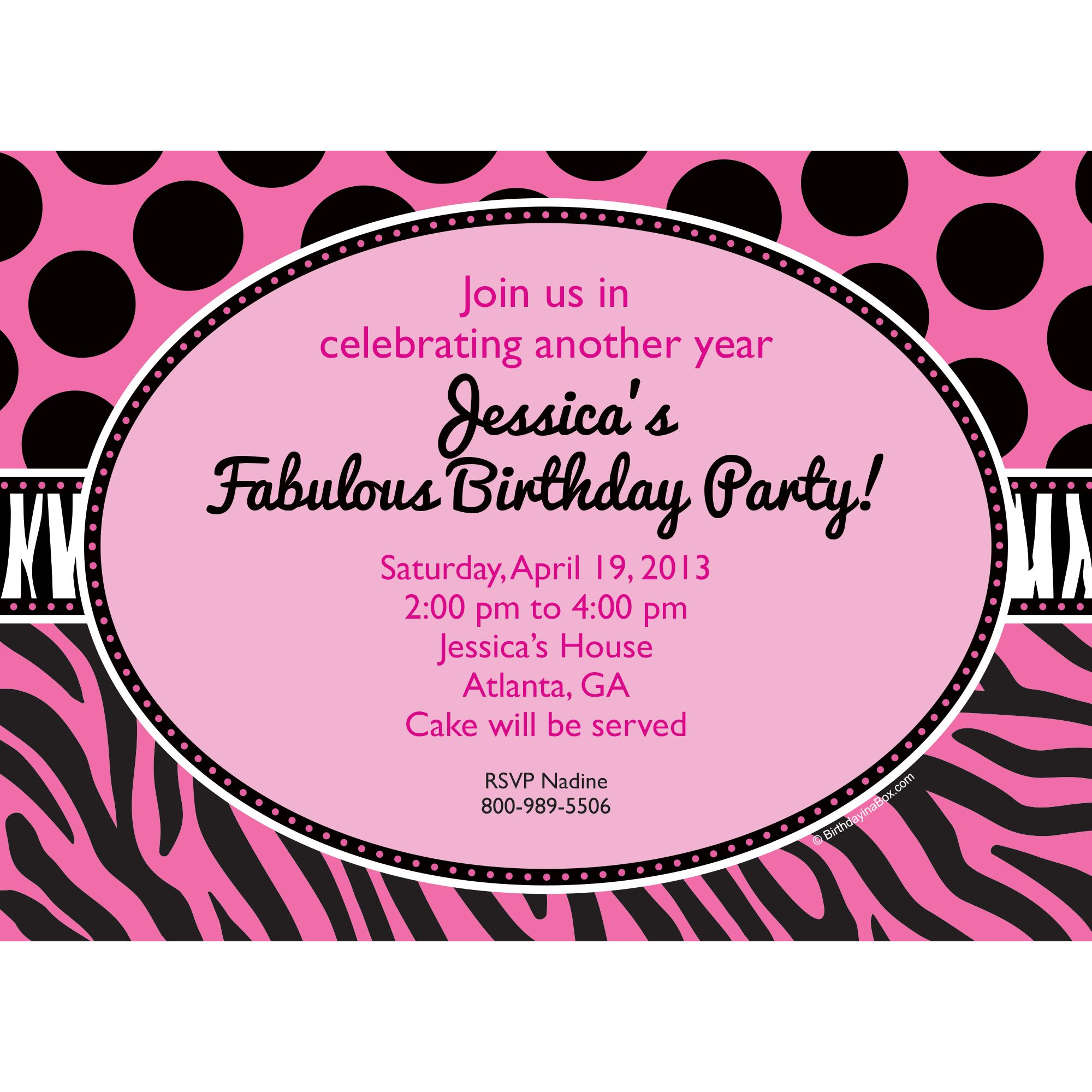 Oh So Fabulous Personalized Invitation (Each) - Party Supplies BB700170IN