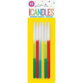 "Ombre Birthday Candles 5"" - Assorted 12ct"