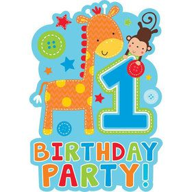 One Wild Boy 1st Birthday Invitations (8 Pack)