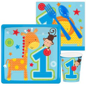 One Wild Boy 1st Birthday Standard Tableware Kit Serves 8