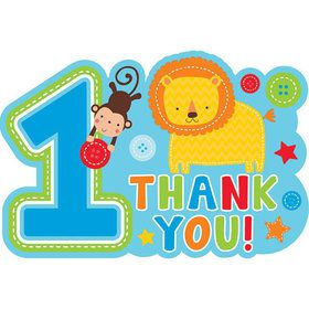One Wild Boy 1st Birthday Thank You Cards (8 Pack)
