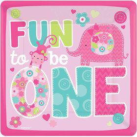 "One Wild Girl 1st Birthday 10"" Luncheon Plates (8 Pack)"
