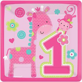 "One Wild Girl 1st Birthday 7"" Cake Plates (8 Pack)"