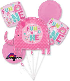 One Wild Girl 1st Birthday Balloon Bouquet (Each)