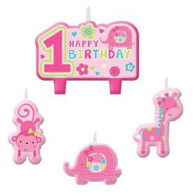 One Wild Girl 1st Birthday Candle Set (4 Pack)