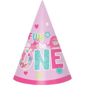 One Wild Girl 1st Birthday Cone Hats (8 Pack)