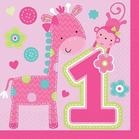 One Wild Girl 1st Birthday Luncheon Napkins (16 Pack)