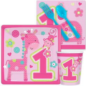 One Wild Girl 1st Birthday Standard Tableware Kit Serves 8