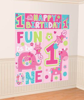 One Wild Girl 1st Birthday Wall Decorating Kit (Each)