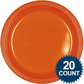 "Orange 10"" Plastic Dinner Plates (20 Pack)"