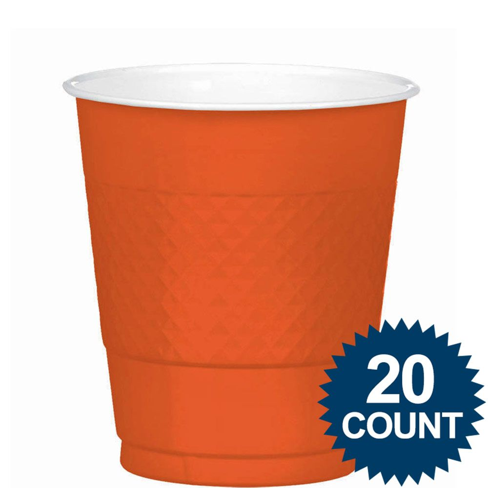 Orange 12Oz. Plastic Cups (20 Pack) BB4303605