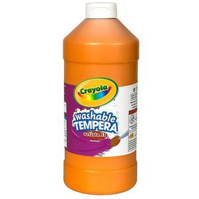 Orange 16 oz washable tempera paint plastic squeeze bottle