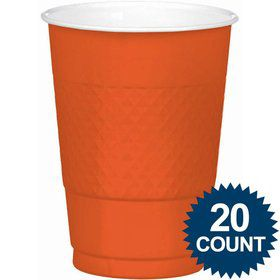 Orange 16oz. Plastic Cups (20 Pack)