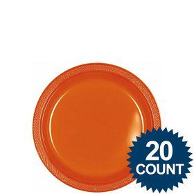 "Orange 7"" Plastic Cake Plates (20 Pack)"