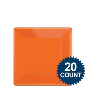 "Orange 7"" Square Paper Cake Plates (20 Pack)"