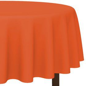 "Orange 84"" Round Table Cover (Each)"