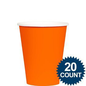 Orange 9 oz. Paper Cups, 20 ct.