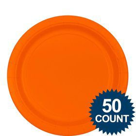 "Orange 9"" Paper Luncheon Plates (50 Pack)"