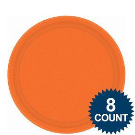 "Orange 9"" Paper Luncheon Plates (8 Pack)"