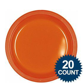 "Orange 9"" Plastic Luncheon Plates (20 Pack)"